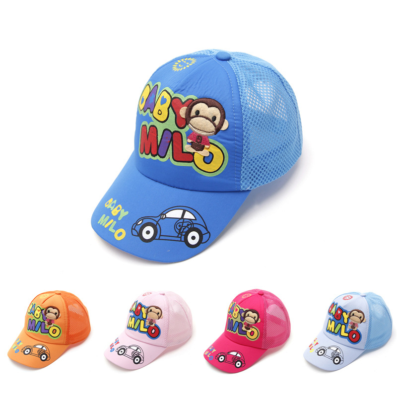 Spring and summer children's hats infant cap 2-8 years baby baseball cap boys and girls outdoors Sport monkey printed mesh cap(China (Mainland))