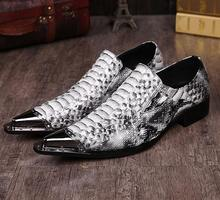 Luxury 2015 Snake Skin Print Mens Slip On Dress Shoes Spiked Flats Metallic Men Studded Loafers(China (Mainland))