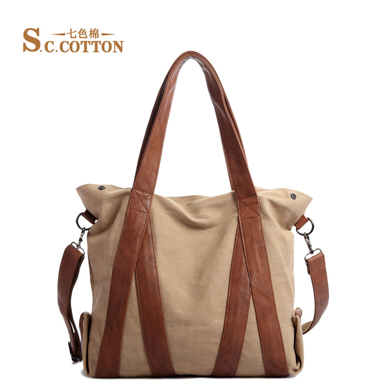 S.C.COTTON Free Shipping Women's Casual Canvas Cotton Big Size Shopping Bag Retro Messenger Handbag Shoulder Bag Female Tote(China (Mainland))