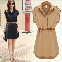 Womens dress summer 2015 Short A-Line solid Plus Size chiffon casual dresses with belt for Party Beach Office summer style