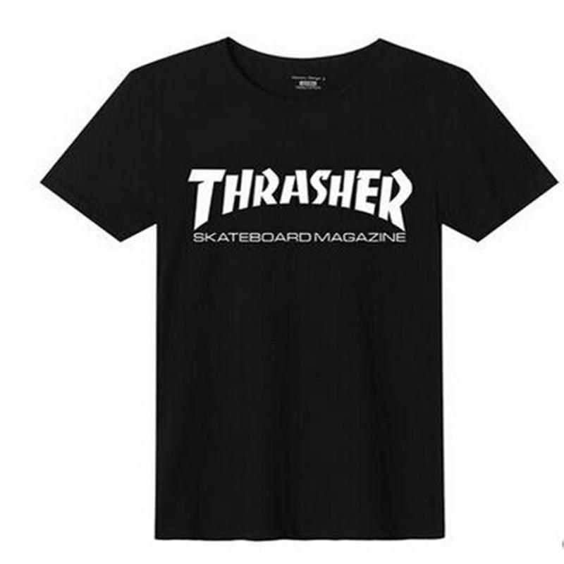 2016 New Summer Men THRASHER Hip Hop T-shirt Men Brand Cotton Skateboard T-shirt Men's Sport Tops Tee(China (Mainland))