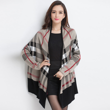 2015 winter new arrival plaid sweater Korean style swing elegant poncho women sweater coat Plus Size cardigan women(China (Mainland))