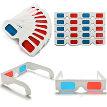 100 pairs Universal Paper Anaglyph 3D Glasses Paper 3D Glasses View Anaglyph Red Cyan Red/Blue 3D Glass For Movie EF(China (Mainland))