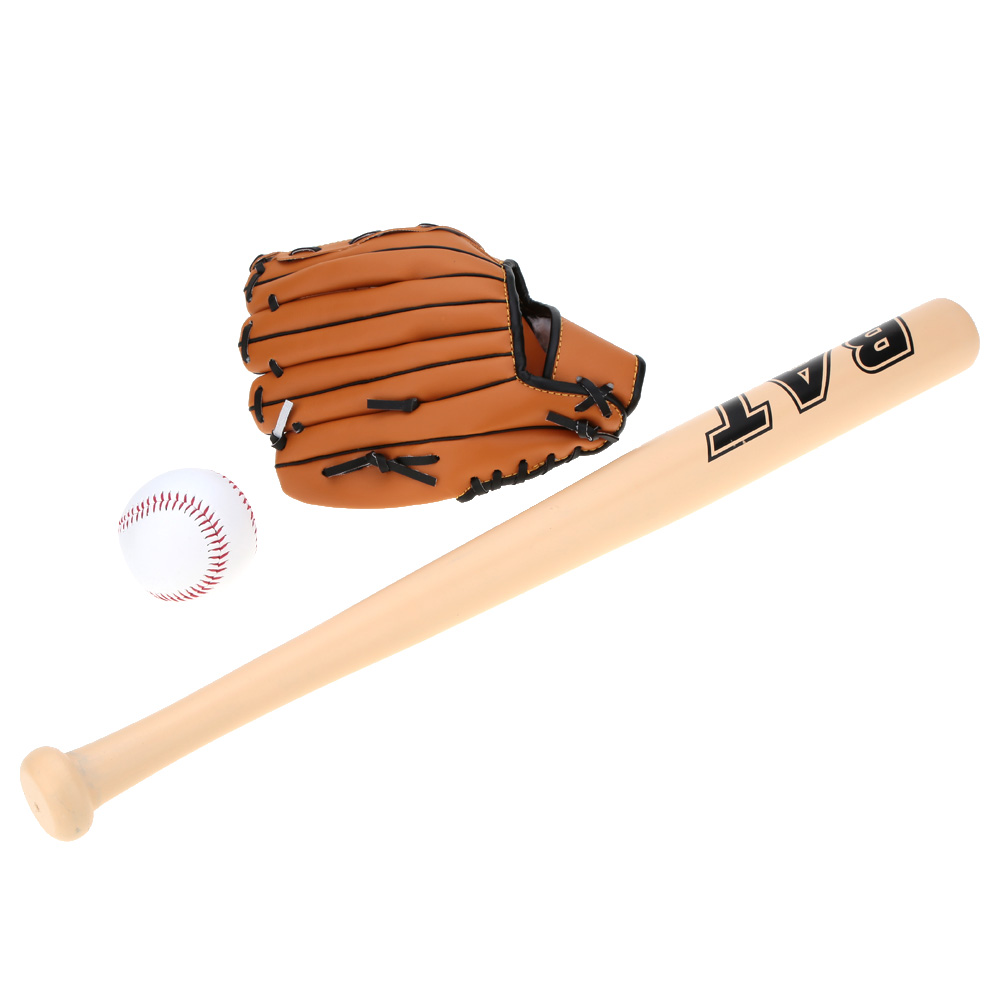 Baseball Set for Kids 60cm Wood Baseball Bat PVC Ball Softball Glove For Practice Training Children Educational Sports Toys Gift(China (Mainland))