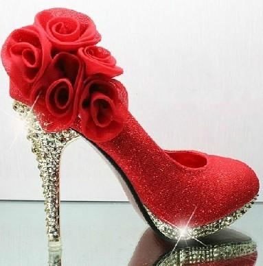 2013 Hot sale shining crystal wedding woman shoes 10cm