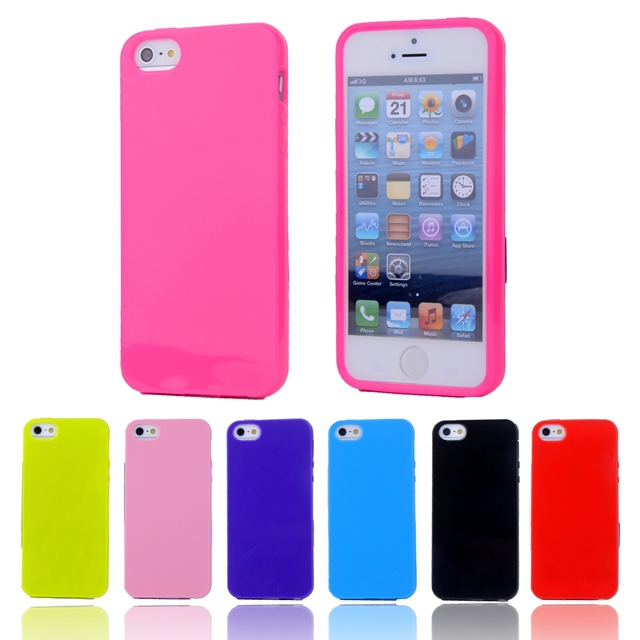 For iphone5S Fashion Candy Colors Jelly Soft TPU Silicone Shockproof Case for Apple iphone 5 5S Cell Phone Protective Cover Bags(China (Mainland))