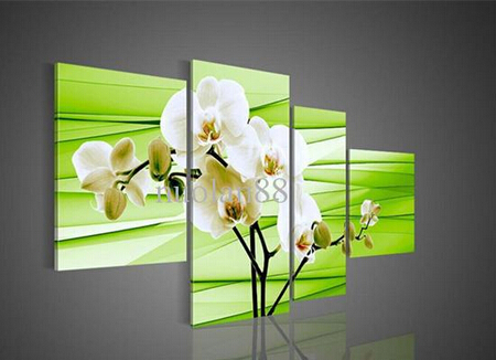 Floral Oil Painting Set Excellent Canvas Wall Art Elegant Style the White Flowers Top House Decoration Best Selling Hot Sale(China (Mainland))