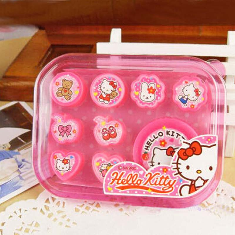 8 pcs/pack Gift Packs Hello Kitty Princess Stamp set for baby kids Toys stamp, Mickey Minnie stamp set for children Toy present(China (Mainland))