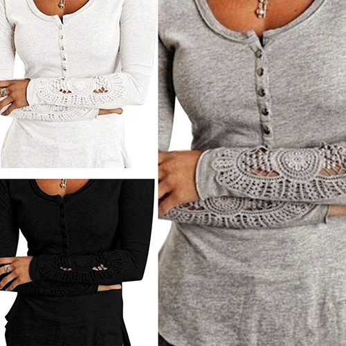 Fashion Women Sexy Long Sleeve Cotton Shirt Lace Loose Top Casual T-shirt