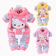 Buy New Hello Kitty Baby Girls Clothing Set Spring Cotton Long Sleeved Children Hooded Clothes Pants 2 Pieces Suit Kids Clothing for $8.67 in AliExpress store