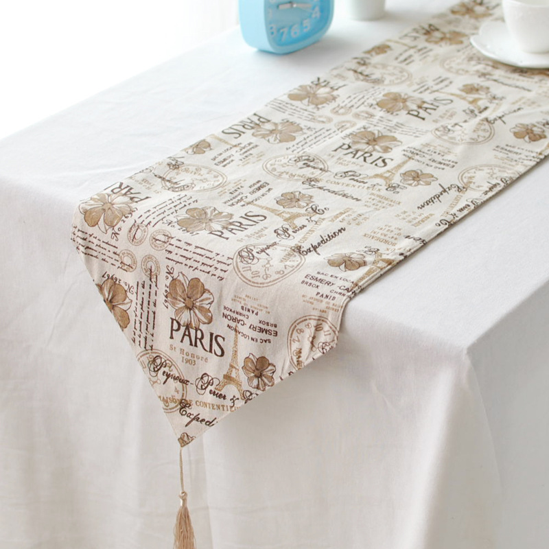 Customized cotton ancient British style decoration cabinet's gift linen table runner(China (Mainland))