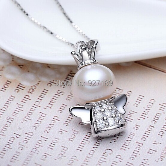 """100% Natural Freshwater Pearl Pendant , 925 silver chain 45cm(18"""") or 40cm(16""""), wedding gift, necklace Angel style(China (Mainland))"""