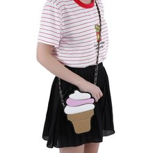 Kawaii Cute Korean Style PU Leather Small Handbags Girl's Ice Cream Bag Cake Pencil Shaped Women Crossbody Messenger Bags