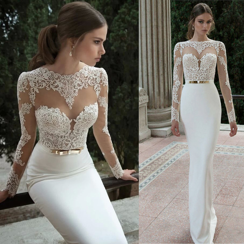 2015 Elegant Sexy Wedding Dresses Satin Bridal & Events Gowns Vestidos De Noiva New Arrival Long Sleeve Sheer Lace Mermaid Gown(China (Mainland))