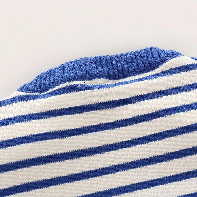 Скидки на Плавание на полосой мальчиков свитера трикотажные пальто хлопка с длинными рукавами одежды детская одежда мальчик одежда зимой