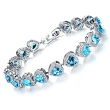 Wholesale Fashion Women Jewelry Classic Platinum Plated Bracelet White / Red / Blue Heart Zircon Bangle Crystal Hand Chain DS949(China (Mainland))