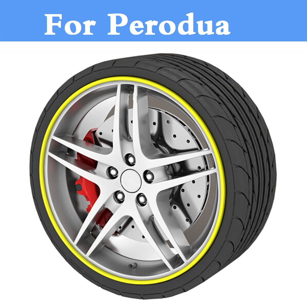 8M Car Wheel Hub Tire Sticker Decorative Strip/Rim Care Covers Perodua Kancil Kelisa Kembara MyVi Nautica Viva