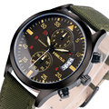YISUYA Cool Fashion Quartz Dress Wrist Watch Men Aviator Analog Chronograph Army Green Nylon Strap Gift