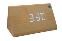 2014 New arrival Home Triangle Digital LED Wooden Desk Alarm Clock Bamboo Case Blue LED for first service