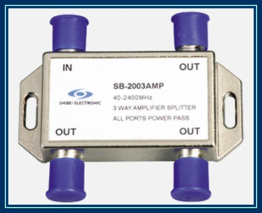 3-way SAT signal amplifier splitter, SB-2003AMP all ports single way passing current, Free Shipping