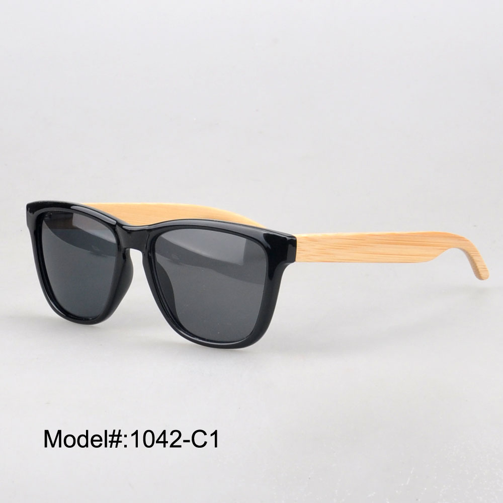 1042 new arrival plastic sunglasses with bamboo temple spring hinge sunshade UVB UVA(China (Mainland))