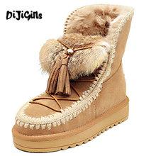 Noticias de Las Mujeres Botas de Nieve de Cuero Real Plataforma Plana Tobillo Botas de Invierno Dama Botas de Piel Caliente Zapatos de Marca(China (Mainland))