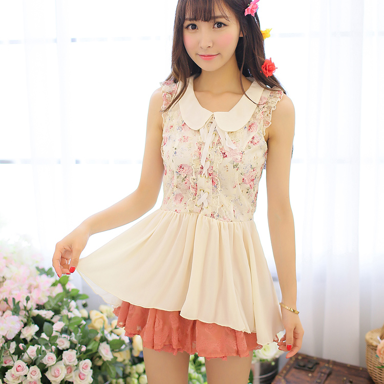 Princess sweet lolita Lolita uncle flowerBefore long after short doll floral bud silk chiffon skirt dress jacket UF108Одежда и ак�е��уары<br><br><br>Aliexpress