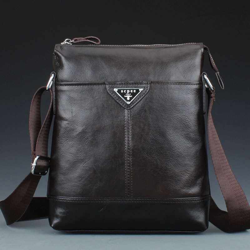 100% oil wax leather man bag Men's leather shoulder bag Messenger bag briefcase business casual bag(China (Mainland))