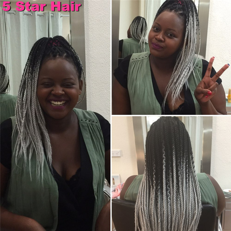 Ombre Kanekalon Jumbo Braiding Hair Colors 24 5pcs African Synthetic Ombre Black Light Grey Two Tone