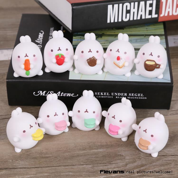 Lovely Cute Molang Rabbit PVC Figure Model Toys Dolls Pendants Kids Toys Gifrs Gifts 5cm 5pcs/set 2 Styles OTFG194(China (Mainland))