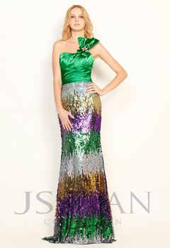 11P019 One Shoulder Beaded Sequined Ruched Flower Evening Dress Sexy Prom Dress