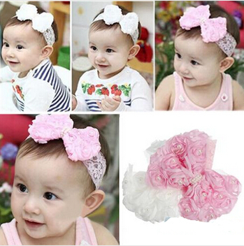 Cute Baby Girl Kid Toddler Pearl Headband Headwear Hat Accessories Rose Bow Lace Hairband Flower Headdress xth016(China (Mainland))
