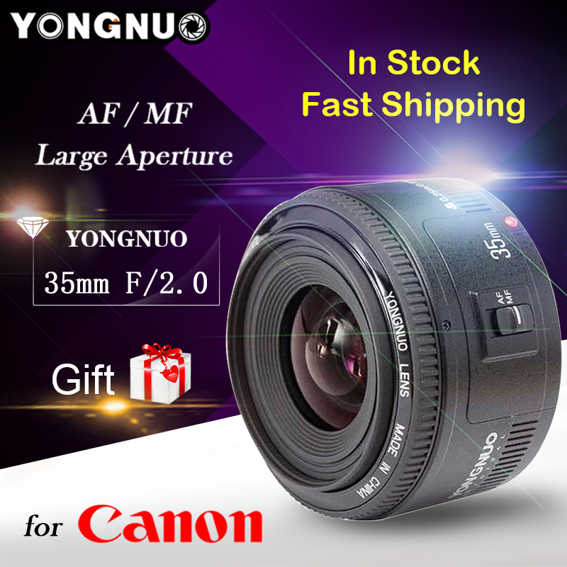 Free Gift YONGNUO YN35mm YONGNUO 35mm F/2 Lens Wide-angle Large Aperture Fixed Auto Focus Lens For <font><b>Canon</b></font> cameras for <font><b>Canon</b></font> 35mm