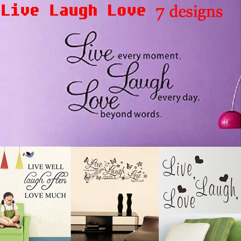 Live Laugh Love inspirational quotes wall stickers room decoration 8023. diy vinyl adesivo de paredes poster decalsmural art 4.0(China (Mainland))