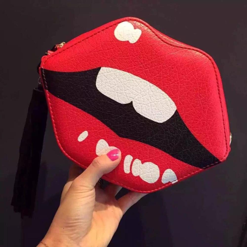 2015 new fashion small cross body bag creative mouse clutch with teeth red lip bag <br><br>Aliexpress
