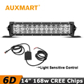 Auxmart 14 6D LED Light Bar 168W CREE Chips Offroad Driving Light Bar 4X4 Pickup Truck