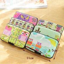 Cute Kawaii Cartoon Plastic Bank Credit Card Bag Lovely Fashion Owl ID Card Holder Box Case for Women Men Free shipping 1301(China (Mainland))