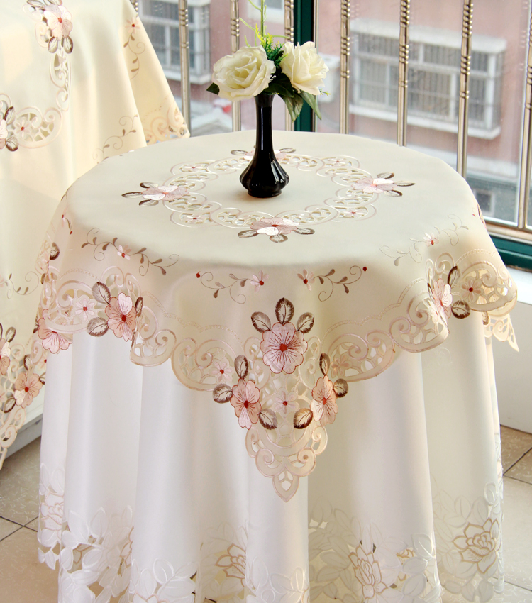 TableCloth Square Decoracao Polyester Embroidered Hollow Pastoral Modern Pink Floral Leave Plant Nappe Manteles Mesa tablecloth(China (Mainland))