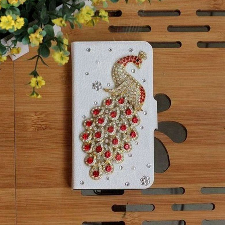 Hot Luxury DIY Red Diamond Peacock Handmade PU Leather Flip Case Cover For Newman CM810(China (Mainland))