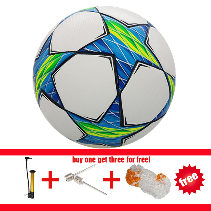 Professional Soccer Sport Football PU Material Champions League Official size 5 Football ball Seamless soccer three free gift(China (Mainland))