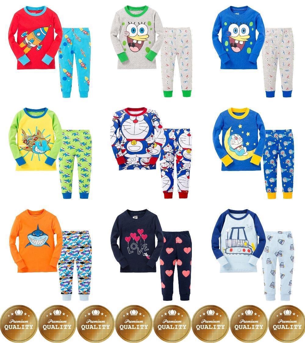 Boys Girls Full Sleeve Pijamas Top+Pants 2Pcs Sleepwear Nightwear Children Clothes Kids Pajamas Sets Baby Pure Cotton Pyjamas(China (Mainland))