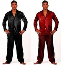 Mens Silk Satin Pajamas Set  Pajama Pyjamas  Set  Sleepwear Set  Loungewear S,M,L,XL,2XL,3XL,4XL  Plus  Striped Black(China (Mainland))