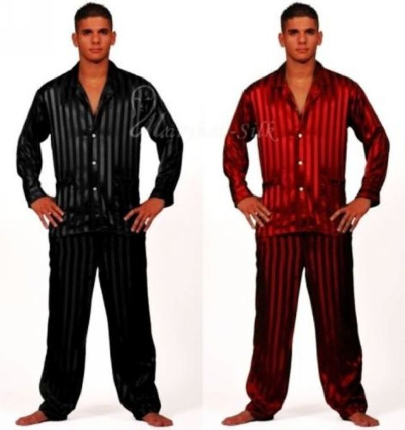 Mens Silk Satin Pajamas Set Pajama Pyjamas PJS Set Sleepwear Loungewear U.S.S,M,L,XL,2XL,3XL Plus Striped Black