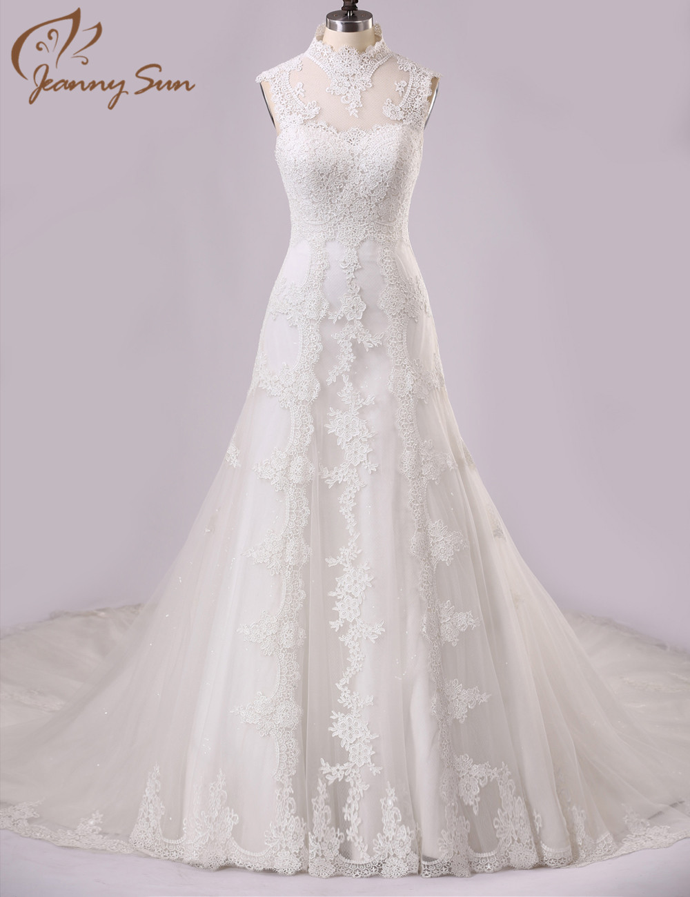 beautiful wedding dresses high neck lace appliques