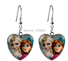 Wholesale New style girls High quality Frozen Anna Elsa Princess Heart glass earring Fashion frozen children jewelry(China (Mainland))
