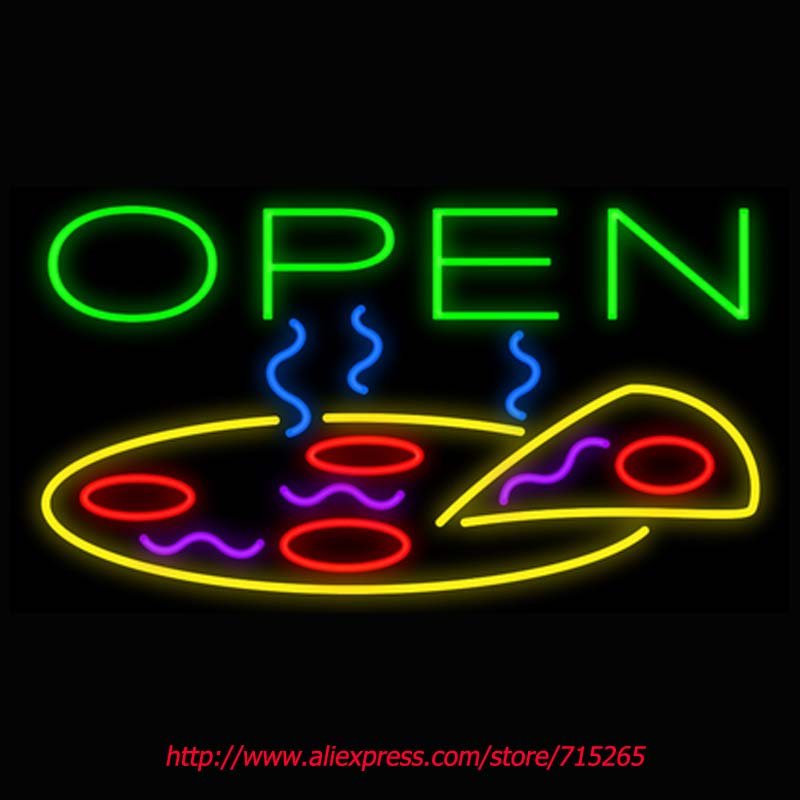 Open Pizza Neon Signs Board Neon Bulb Light Real GlassTube Handcrafted Beer Bar Pub Game Room Busines School Store Display 17x14(China (Mainland))