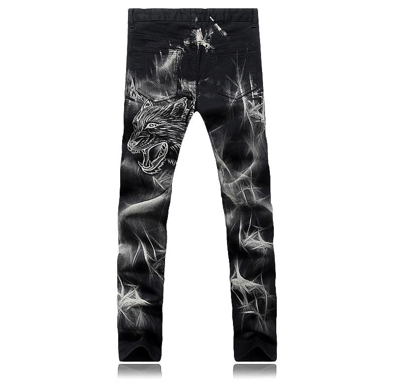 Скидки на Новые продукты Картина Мужчины печати джинсы Молнии закрытие Прямо Тонкий Хан доска брюки мужская мода джинсовые комбинезоны мужчин G201
