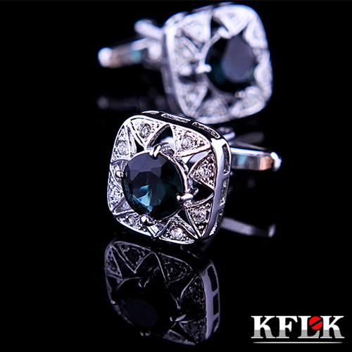 5 Color KFLK Jewelry shirt cufflink for mens Brand cuff buttons Crystal cuff link High Quality Wedding abotoaduras Free Shipping(China (Mainland))