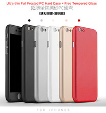 "20pcs 3IN1 mobile Phone Case Ultra-thin Full Cover Frosted PC Hard Case+Tempered Glass for i6s 4.7 6s plus 5.5""Front Back Cover"