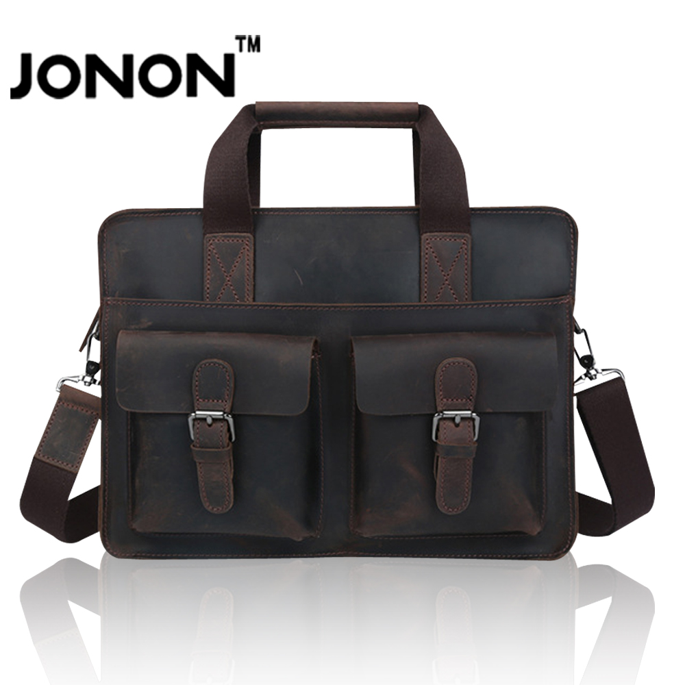 JONON Briefcase Men Bags Genuine Leather Vintage Messenger Bag For Male Famous Brand Handbags Crossbody Bag Clutch Dollar MHB095